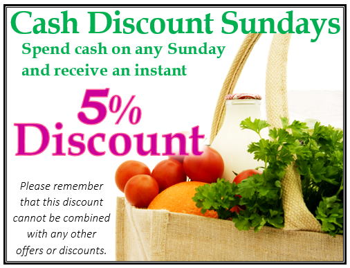 Cash Discount Sunday